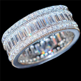 Wholesale Men Gold Square Ring - Luxury 10KT White Gold filled Square Pave setting full Simulated Diamond CZ Gemstone Rings Jewelry Cocktail Wedding Band Ring For Women Men
