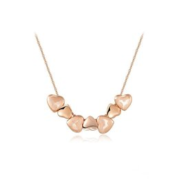 Wholesale Necklace Ideas - Heart Shaped Pendant Necklace Rose Gold Heart Necklace For Women Hip Hop Jewelry Ideas for Party