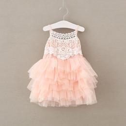 Wholesale Baby Girls Singlet Dress - 2017 BabyGirl Crochet Lace Dress Kids Girls Tulle tutu Dress Baby Girl Singlet Party Dress Children's Summer clothing