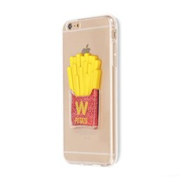 Wholesale Wholesale Chips Cell Phones - 3D French fries Potato chips liquid sand Cell phone back cover TPU transparent soft case for iPhone 5 5s se 6 6s 6p 7 7p