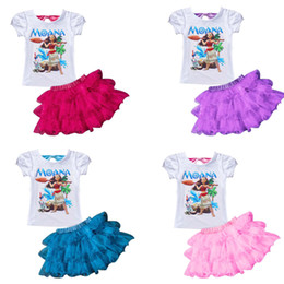 Wholesale Girls Outfit Skirt - New summer baby girls outfits Moana printing short sleeve top+TuTu lace skirts 2pcs set Moana kids suit free shipping C1773