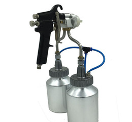 Wholesale Wholesale Airbrush Paints - Manual Airbrush painting spray gun chrome double nozzle spray gun hvlp air spray gun with bottle cup for silver mirror free shipping