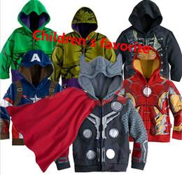 Wholesale captains coat - Classic Cartoon Jackets Children Hoodies Sweatshirts Outerwear Superhero Coat Ironman Holk Captain America Avenger Boys JC36