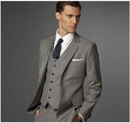 Wholesale Three Button Cotton Blazer - 2017 new Notched Lapel Two Button Groomsman Gray Tuxedos Male Wedding Suits Handsome Blazer ( jacket+Pants+vest+tie) free shipping AOP--002