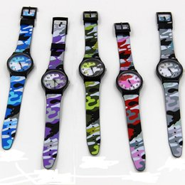 Wholesale Toy Plastic Watches - 5 colors Kids Cool Military Camouflage Watch toy Children Silicone Watch Fashion Cartoon Quartz Watches Girl Boy