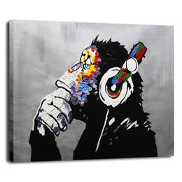 Wholesale Modern Music Oil Painting - Modern Gorilla Monkey Music Oil Painting Wall Decoration Canvas Artwork Handmade Abstract Pop Animal Arts 20x16H inch