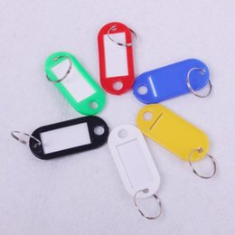 Wholesale Plastic Card Keychain - Hotel Home Blank Key Suitcases Classification Tags Plastic Language Keychain ID Name Cards Labels With Ring Hot Sell 0 12ak J
