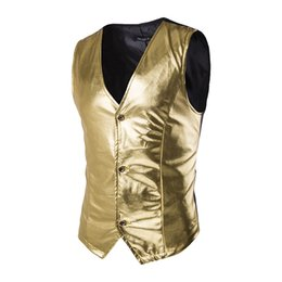 Wholesale Host Club - Wholesale- Shiny Gold Vest Men 2017 Brand New Night Club Coated Metallic Mens Waistcoat Vest Stage Wedding Host Single Breasted Vests Men