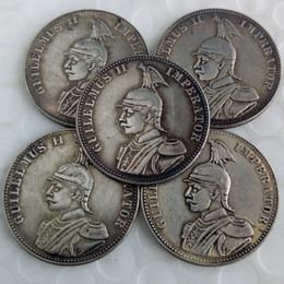 Wholesale german ii - a set of (1891-1902)5pcs German East Africa 1 Rupie Coin Guilelmus II Imperator Brass Craft Ornaments