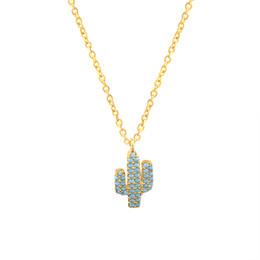 Wholesale Cz Blue Pendant - Wholesale 10Pcs lot 2017 Hot Sale Summer Luxury Jewelry Pendant Blue CZ Cactus Tree Gold Chains Crystal Necklace Elegant Party Accessories