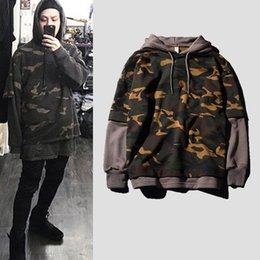 Wholesale Hoodie Men Military - Hot Male Kanye West Camouflage Fake Two-piece Hoodie Sweatshirts Army Military Men Shirt Camo Hoodies Coats