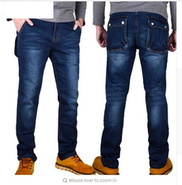 Wholesale Men S Big Feet - Wholesale-Autumn and winter high elastic jeans trousers Slim Straight thin section multi-pocket tooling big yards elastic feet