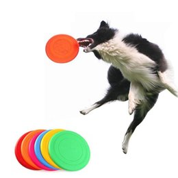 Wholesale Disc Frisbees - Soft Flying Flexible Disc Tooth Resistant Outdoor Large Dog Puppy Pets Training Fetch Toy Silicone Dog Frisbee Dog Toys