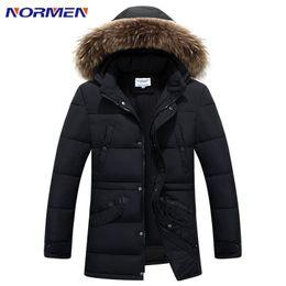 Wholesale Men Overcoats Hoods - Wholesale- NORMEN Brand 2017 Winter New Men's Solid Long Parkas Fashion Padded Streetwear Casual Overcoat Winter Jacket Men Suit For -20