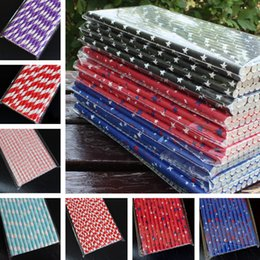 Wholesale Cheap Papers Straws - Cheap Straws Disposable Dining Bar disposable pipette stars stripes love dot pattern Environmental protection straw paper quality SALE 1284