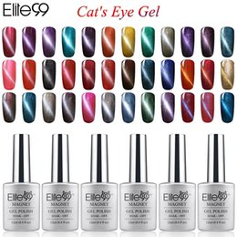 Wholesale Cats Nail - Wholesale-Elite99 6pcs Color Magnetic UV Cat Eye Gel Nail Polish 12ml With a Free Magnet stick Nails Manicure Art lasting Lacquer