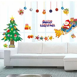 Wholesale Generation Sticker - Hot New Santa wall stickers, environmental quality PVC transparent, third generation Removable Wall Stickers free shipping