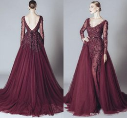Wholesale Prom Embroidery Piece Dress - Elegant Backless Burgundy Lace Formal Celebrity Evening Dresses V Neck Long Sleeves 2017 Elie Saab Middle East Arabic Prom Party Gowns Cheap
