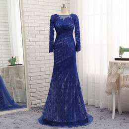 Wholesale Autumn Dresses For Women - 2017 Royal Blue Lace Mother Of The Bride Dresses Mermaid Long Sleeves Sheer Evening Party Gowns Pleats For Women Weddings Guests
