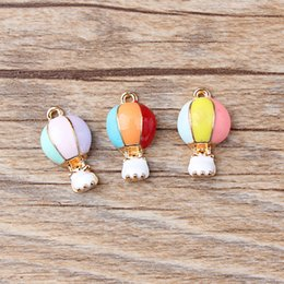 Wholesale Wholesale Hot Air Balloon Plates - Free Shipping Oil Drop Charms 10pcs lot Fashion Hot Air Balloon Enamel Charms Alloy Pendant fit Necklaces Bracelets DIY Jewelry Accessories
