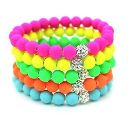 Wholesale china silicone beads - 8mm Candy colors Silicone Beads Bracelet for Men Women Trendy DIY Fluorescent Neon Strand Bandage Charm Bracelets Bangles.