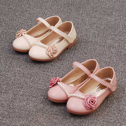 Wholesale Kids Wedges Shoes - 2017 new Children princess Dress Shoes kids Wedge led shoes baby Girls flower pearl PU leather Shoes Fashion Infant Toddler Footwear A311