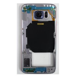 Wholesale Middle Frame Bezel - Best Quality OEM Metal Middle Bezel Frame with Camera Side Button Single Card Version for Samsung Galaxy S6 G920F G920A G920P Free Shipping