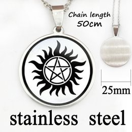 Wholesale dean winchester pendant - 2017 Special Offer Hot Maxi Necklaces Collares Collier Supernatural Sam Dean Winchester Necklace Jewelry Glass Dome Pendant