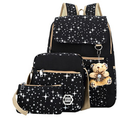 Wholesale Cross Body Bags For School - 3piece set School Backpack 2017 New Canvas shoulder bag Girls backpack school student Bag star print women backpack for travel