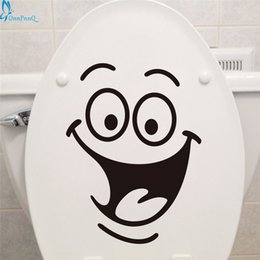 Wholesale Furniture Stickers Decals - Wholesale- OnnPnnQ Smile face Toilet stickers diy personalized furniture decoration wall decals fridge washing machine sticker Bathroom Car