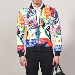 Wholesale Mens Jacket Trend - Wholesale- New 2017 Fashion Thick Brand Jacket Men Luxury Creative Print College Trend Casual Mens Jackets Coats Slim Fit Large Size M-4XL