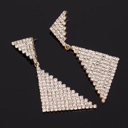 Wholesale Triangle Dangle Earrings Fashion - Female accessories earring triangle double rhinestone bling drop earring fashion big earrings big drop earring #E065