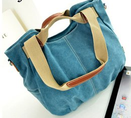 Wholesale Cloth Cross Body Bags Women - Wholesale- 2015 spring and summer women canvas bag with leather tide portable shoulder bag diagonal multi-purpose bucket female cloth bags