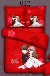 Bride Groom Full Queen Cotton 4pcs Bedding Set Bedclothes Sets Bed Linens Quilt Cover Bedroom Cover