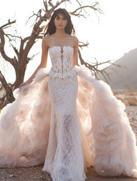 best crystals mermaid wedding dress - datchable ball gown ruffled skirt country lace mermaid wedding dresses 2018 Pnina Tornai bridal gowns strapless chapel train wedding gowns