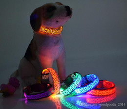Wholesale S Led Dog Collar - Solid Color Nylon Band Dog Pet Led Flashing Collar Night Light Up Led Necklace Adjustable S M L XL Various Colors b499