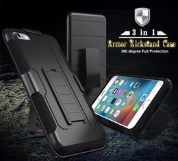 Wholesale Military Phone Covers - For iPhone 7 Case Military Hybrid Black Armor Phone Cases For iPhone 6 7 6S Plus 5S SE Cover Heavy Duty Kickstand Coque free shipping