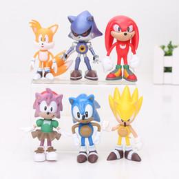 Wholesale Sega Sonic Hedgehog - 1set 6pcs set 3int 7cm SEGA sonic the hedgehog Figures toy pvc toy sonic Characters figure OPP package toy