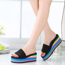 Wholesale Women Beach Shoes Design - 2017 Fashion Ladies Slippers Girl's Colorful Design Woman Shoes Elegant Indoor Outdoor Beach Sandals Girl's Rainbow Shoes ML3489