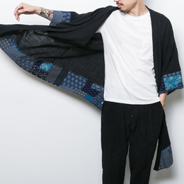 Wholesale Tang Suits - Wholesale- YINOS Cotton Linen Chinses Traditional Tang Long Suit Men Coat Geometry Patch Male Outwear Summer Homme Trench Summer 2017