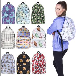 Wholesale Designed Notebooks - Women Unicorn Backpack 3D Printing Travel Softback Bag School Cat Backpack Notebook Travel Rucksack 15 design KKA2829