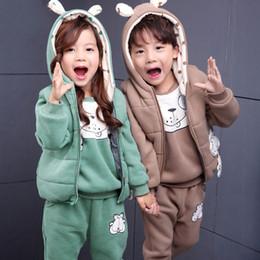 Wholesale Cashmere Suit Coat - 2017 Winter Boys Girls 3 Pcs Sets Kids Cotton-Padded Hoody Coat Clothing Suit Children Cashmere Warm Waistcoat + Tops + Pants
