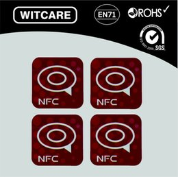Wholesale Nfc S4 - Wholesale- (4pcs lot) Ntag213 NFC tag for Samsung Note3 Galaxy S4 Lumia920 Nexus4 10 BlackBerry HTC * Free Shipping * Dark Red