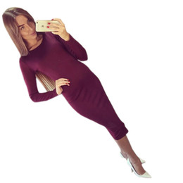 Wholesale Short Midi Dress Cotton - Wholesale- NEW Arrival Cotton Long Sleeve Knee Length Midi Dress Slim Bodycon Bandage Autumn Wine Red Women Dresses Free Shipping