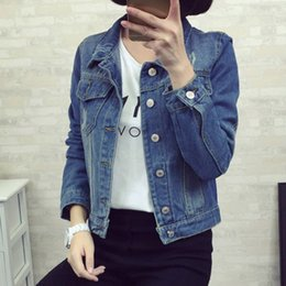 Wholesale Denim Short Jackets Wholesale - Wholesale- 2017 autumn winter New arrival Hot selling women's fashion all-match Girls plus size Handsome denim Jacket Cheap wholesale