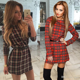 Wholesale Womens Brown Dress Xl - Sexy Slim Women Casual Long Sleeve Mini Dress Red Coffee Plaid Tartan Dresses For Womens