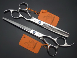 blue hairdressing scissors Promo Codes - Wholesale- Hair scissors Cutting 7 INCH + Thinning 6.5 INCH LYREBIRD Silvery scissors Hairdressing scissors blue stone Simple packing NEW