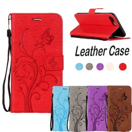 Wholesale Silicon Phone Stand - Fllower PU Leather Phone Case For Iphone 7 7plus 6 6plus for s8 s7edge Soft silicon Flip Slots Card Wallet Stand Cover Red