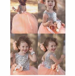 Wholesale kids wedding shirts - Backless Sequin Lace Custom Cute Little Flower Girl Dress Floor Length Hand Made Flowers Bows Kids Prom Birthday Dress Cheap 53