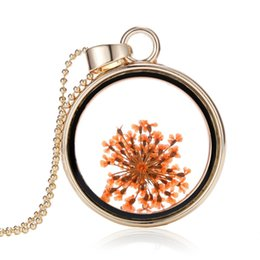Wholesale Statement Necklace Orange - Wholesale- 2015 Fashion Dried orange flowers Jewelery glass locket necklace pendants gold plated statement crystal necklace for women